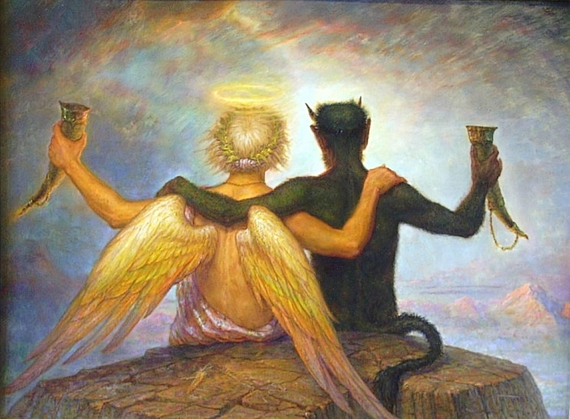 фото ангел и бес процесс происходит оперением