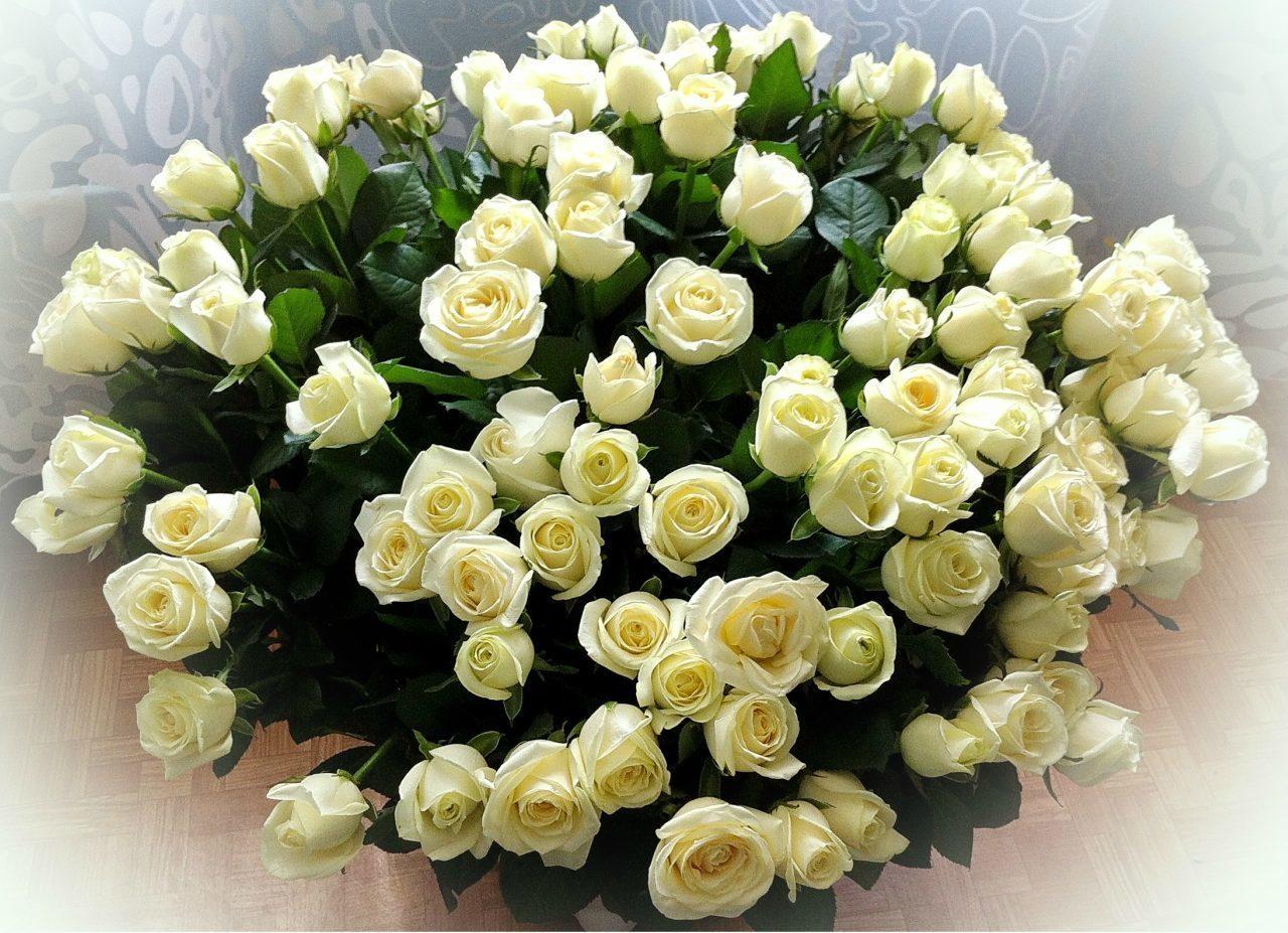 Открытки с днем рождения с букетом белых роз, субботнего утра надписью