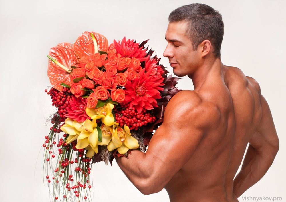 Открытка, смешные картинки мужчины с цветами