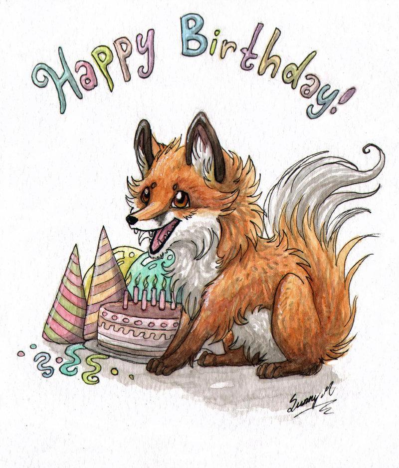 Картинки лисы с днем рождения