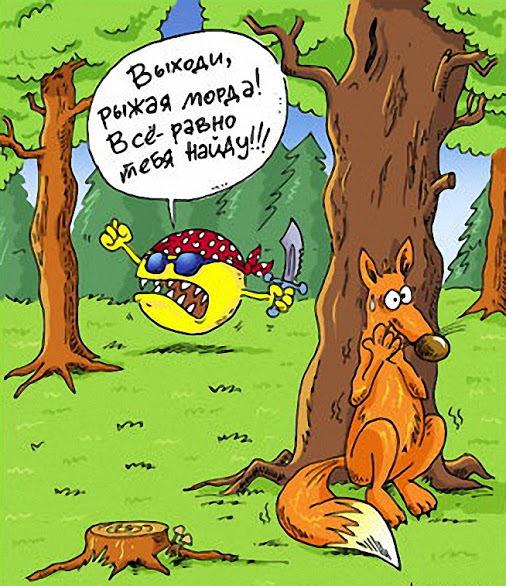 Смешная картинка лиса и колобок